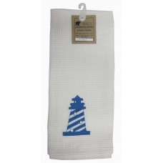 Kitchen Towels, White- Embrdrd Light House