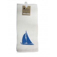 Kitchen Towels, White - Embrdrd Sail Boat