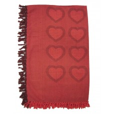 """Table Cloth- Hearts, Red/Burgandy-52X70"""""""