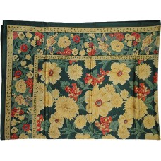 Tablecloth, Floral Green Glazed Cotton