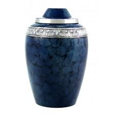 Urn - Solid Metal, Blue Finish - Florals