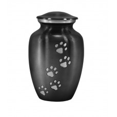 "Urn For Pets, Solid Metal, Steel Grey - 8"" Ht."