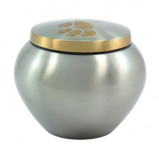 "Urn For Pets, Metal, Single Paw, Pewter Finish-6""Dx5"" Ht. (Lrg)"