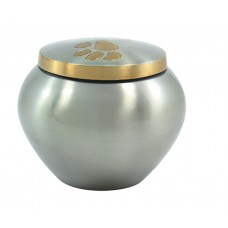"Urn For Pets, Solid Metal, Single Paw, Pewter Finish-5.5""X4"""