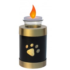 Urn For Pets, Solid Metal, Gold/Blk With Tea Light