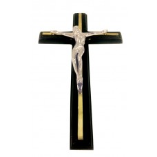 Crucifix Pewter Finish, Wall Hanging, Black Wdn Cross