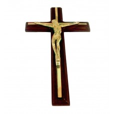 Crucifix Brass- Wall Hanging, On Brown Wooden Cross