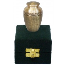 Keepsake Urn - Antiqued Brass Finish, In Velvet Box