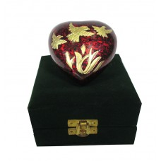 Keepsake Urn - Heart Shape, Red In Velvet Box