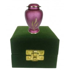 Keepsake Urn - Solid Brass - Pink, In Velvet Box