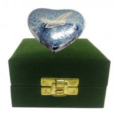 Keepsake Urn - Heart, Brass, Blue, In Velvet Box